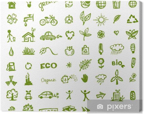 Obraz na płótnie Zielone ikony ekologii do projektowania - Ekologia