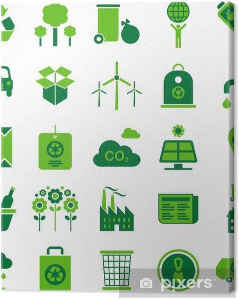 Obraz na płótnie Zielone ikony środowiska i recyklingu - Ekologia