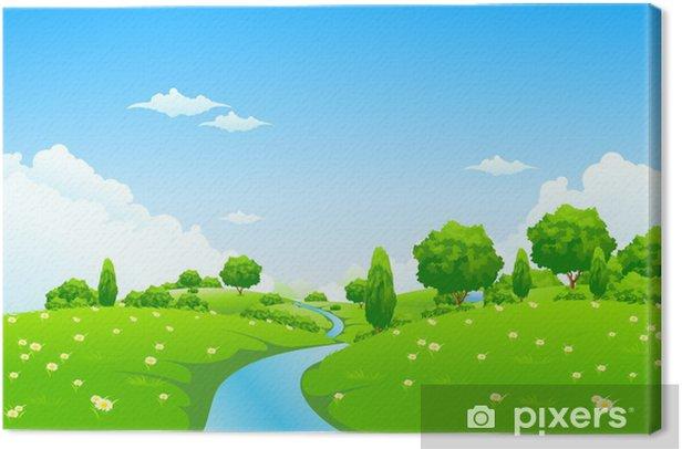 Obraz na płótnie Zielony krajobraz z drzew i kwiatów rzecznych - Pory roku