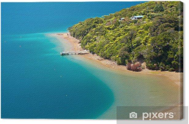 Obraz na płótnie Zielony las i błękitne wody - Wakacje