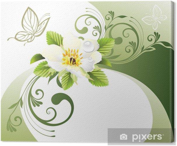 Obraz na płótnie Zielonym tle z kwiatów i motyli - Inne Inne