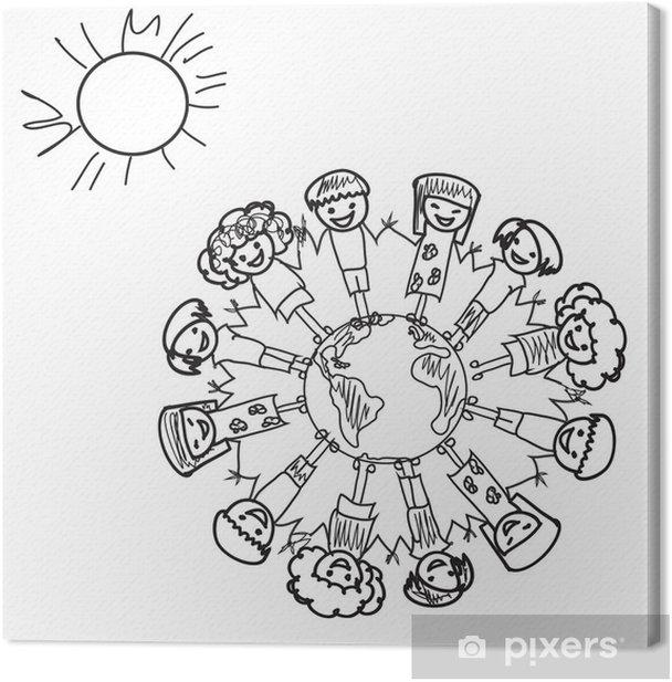 Obraz na płótnie Ziem dzieci doodle - Dzieci