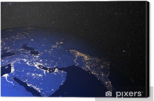 Obraz na płótnie Ziemia z kosmosu w nocy. Bliski Wschód. - Przestrzeń kosmiczna