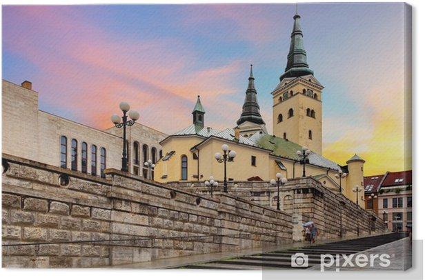 Obraz na płótnie Zilina street - Trinity Cathedral, Słowacja - Europa