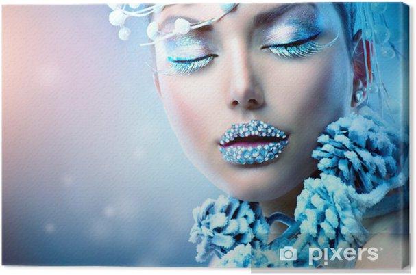 Obraz Na Płótnie Zima Kobieta Piękna Christmas Dziewczyna Makijaż