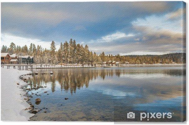 Obraz na płótnie Zima nad jeziorem w miejscowości górskiej Idaho - Pory roku