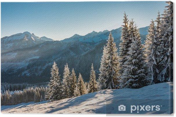 Obraz na płótnie Zimowy krajobraz górski, Tatry, rano - Krajobrazy