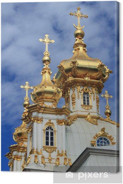 Obraz na płótnie Złote kopuły w Pałacu Peterhof w Sankt Petersburgu, Rosja - Azja