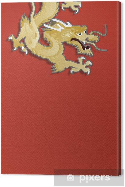 Obraz na płótnie Złoty smok na czerwonym tle papieru rzemiosła grafiki - Tematy