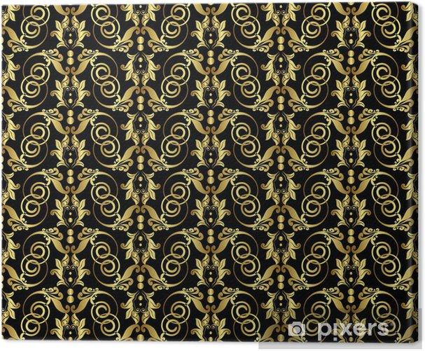 Obraz na płótnie Złoty szwu wzór ornament na czarnym tle - Tła