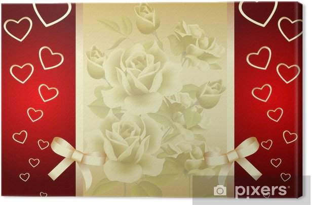 Obraz na płótnie Złotym tle Rose & Serce - Abstrakcja