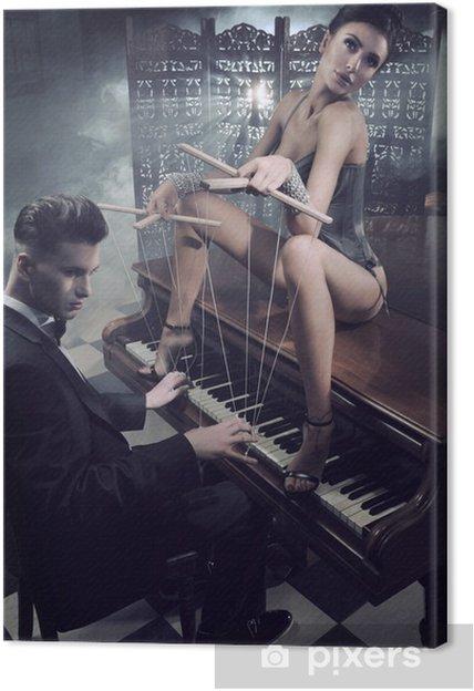 Obraz na płótnie Zmysłowa kobieta w seksownej bieliźnie siedzi na fortepianie - Bielizna