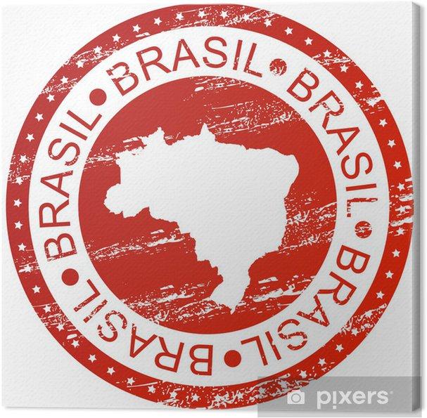 Obraz na płótnie Znaczek - Brazylia, z mapy - Ameryka