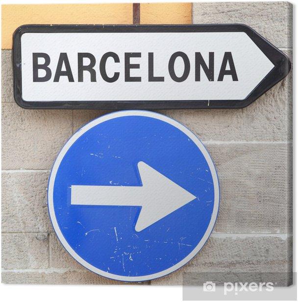 Obraz na płótnie Znak drogowy - Miasta europejskie