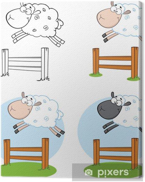 Obraz na płótnie Znaki owiec Cartoon przeskakując Fence.Collection Set - Szczęście
