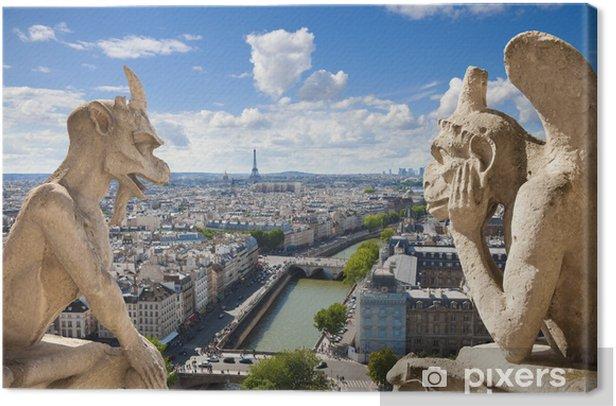 Obraz na płótnie Znani gargulce z Notre Dame widokiem Paryża (compos) - Tematy