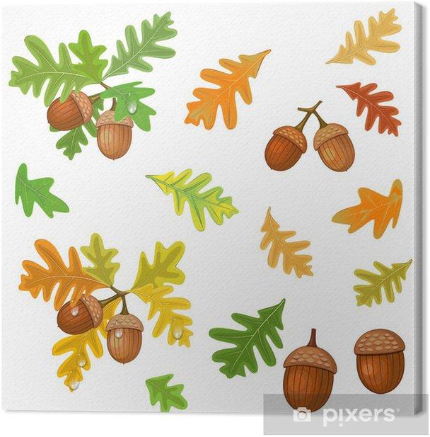 Obraz na płótnie Żołądź z liśćmi - Drzewa