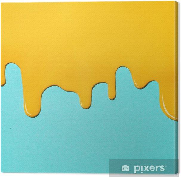 Obraz na płótnie Żółta farba tekstury na niebieskim płótnie. minimalistyczne tło z miejsca na kopię. koncepcja kreatywna. - Zasoby graficzne