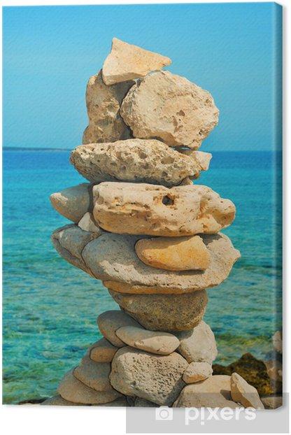 Obraz na płótnie Zrównoważonego kamienie na plaży w lecie - Wakacje