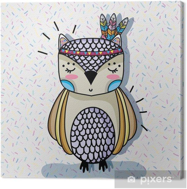 Obraz na płótnie Zwierzę ładny sowa z projektowania piór - Zwierzęta