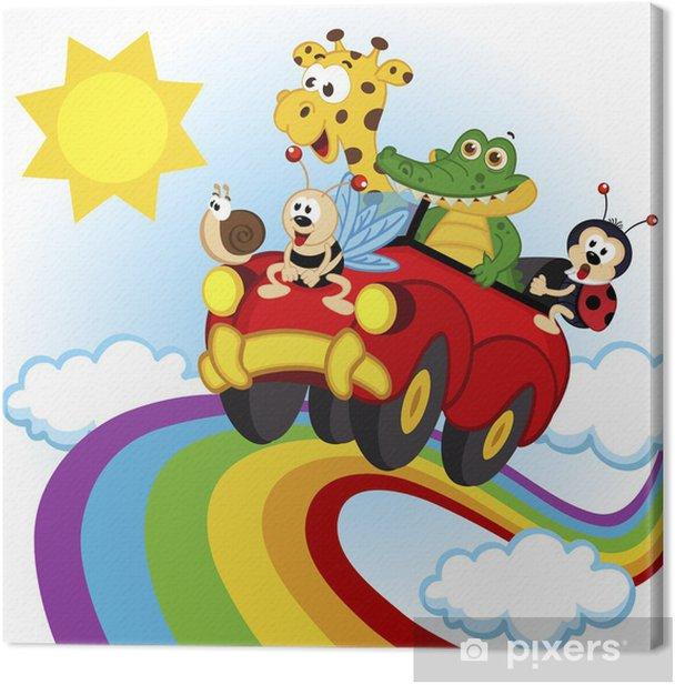 Obraz na płótnie Zwierzęta podróżujące samochodem nad tęczy - wektor, eps - Dla przedszkolaka