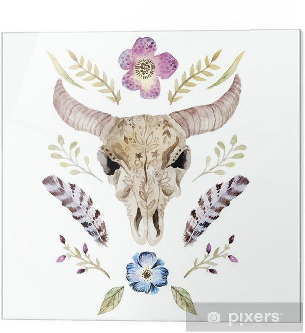 Obraz na szkle Akwarele ilustracji wektorowych boho z czaszką - Zasoby graficzne