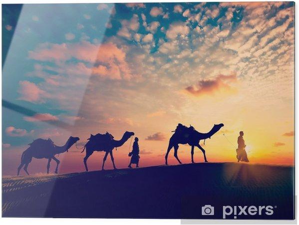 Obraz na szkle Dwa cameleers (sterowniki camel) z wielbłądów w wydmy pustyni - Sport