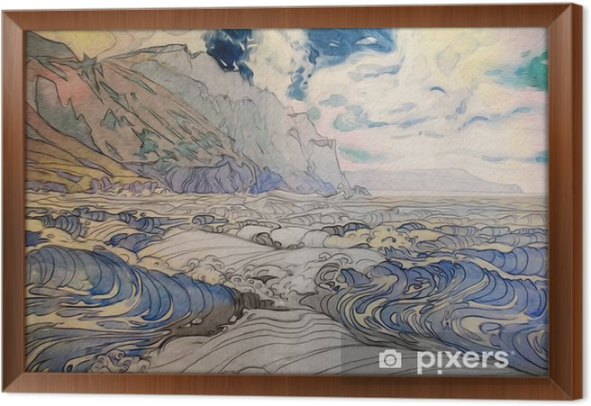 Rámovaný obraz na plátně Морской пейзаж - Krajiny