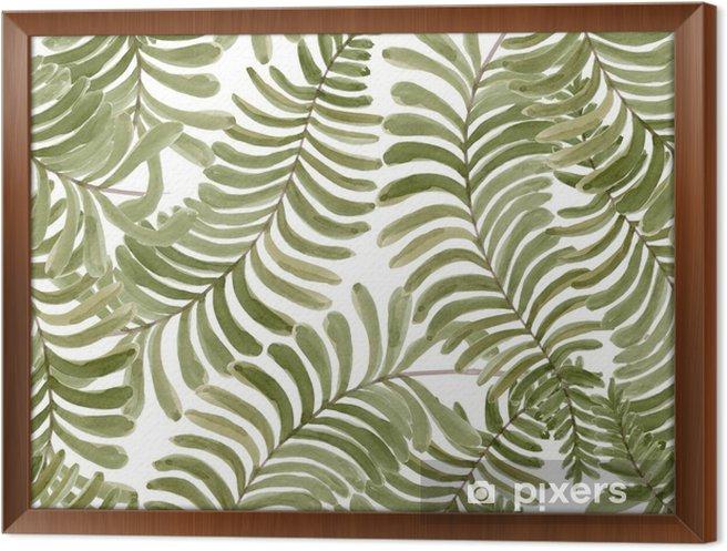 Ramovany Obraz Na Platne Akvarel Bezproblemove Vzorek S Palmovymi