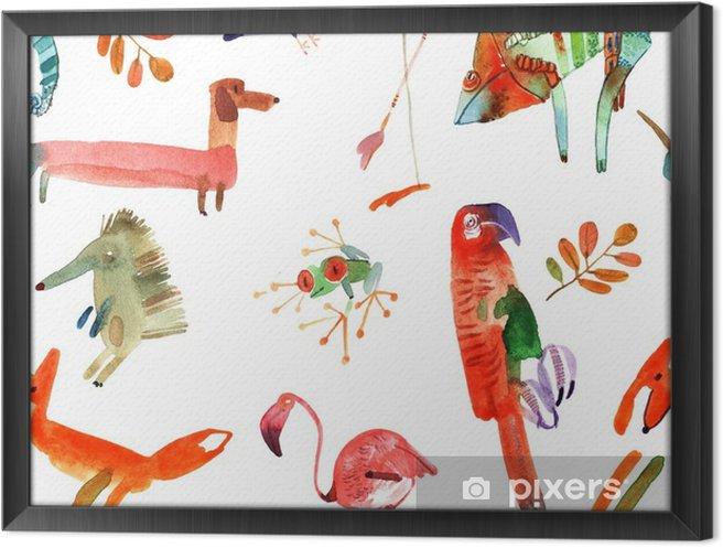 Rámovaný obraz na plátně Akvarel zvířata sada - Zvířata