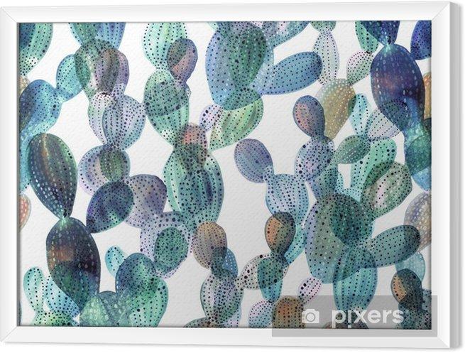 Rámovaný obraz na plátně Cactus vzor ve stylu akvarelu - Rostliny a květiny