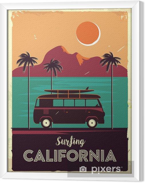 Rámovaný obraz na plátně Grunge retro kovové znamení s palmami a van. surfování v kalifornii. vintage reklamní plakát. staromódní design - Krajiny