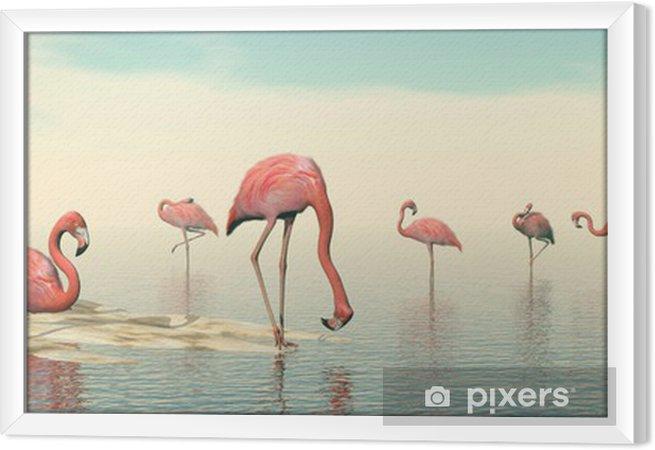 Rámovaný obraz na plátně Hejno plameňáků - 3D vykreslování - Ptáci