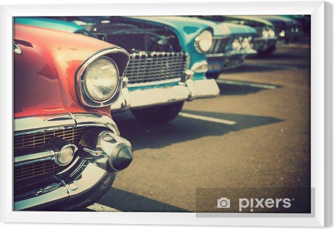 Rámovaný obraz na plátně Klasické auta v řadě - Doprava