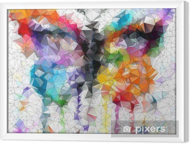 Rámovaný obraz na plátně Multicolor jasný motýla abstraktní geometrické pozadí - Styly