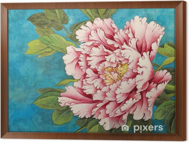 Rámovaný obraz na plátně Růžová pivoňka na modrém pozadí - Rostliny a květiny