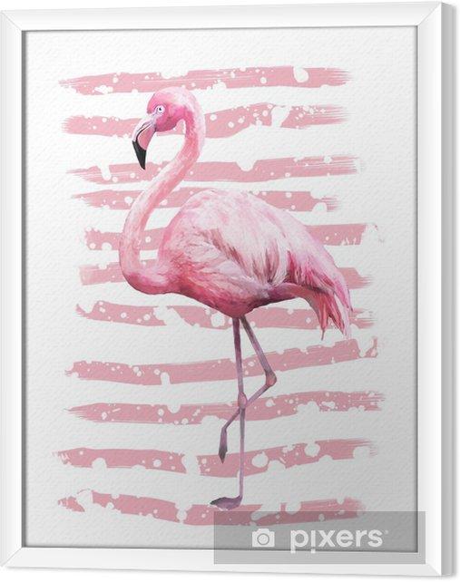 Rámovaný obraz na plátně Tropické letní geometrické plakát design s grunge textury. akvarel růžový pták - plameňák. exotické abstraktní pozadí, vinobraní. ručně malované ilustrace. doodles retro - Zvířata
