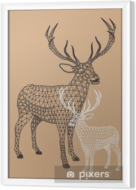 Rámovaný obraz na plátně Vánoční sob s geometrickým vzorem, vektor - Životní styl