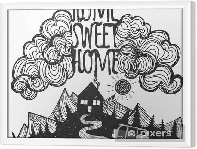 Rámovaný obraz na plátně Vektor inspirativní plakát s horami, dům, auto a citace - Krajiny