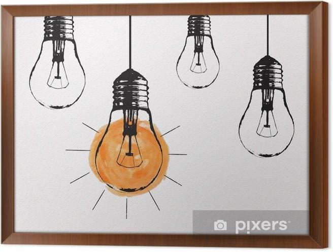 Rámovaný obraz na plátně Vektorové grunge ilustrace s visící žárovky a místo pro text. Moderní styl skica bederní. Jedinečný nápad a kreativní myšlení koncept. - Duševní stavy