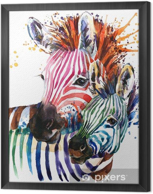 Rámovaný obraz na plátně Zebra ilustrace s textury stříkající akvarel. duhové pozadí pro módní tisk, plakát na textil, módní návrh - Zvířata