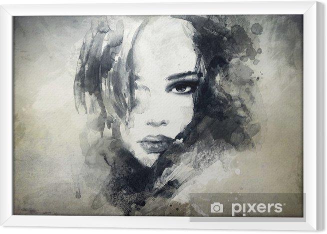 Obraz na płótnie w ramie Abstrakcyjny portret kobiety -