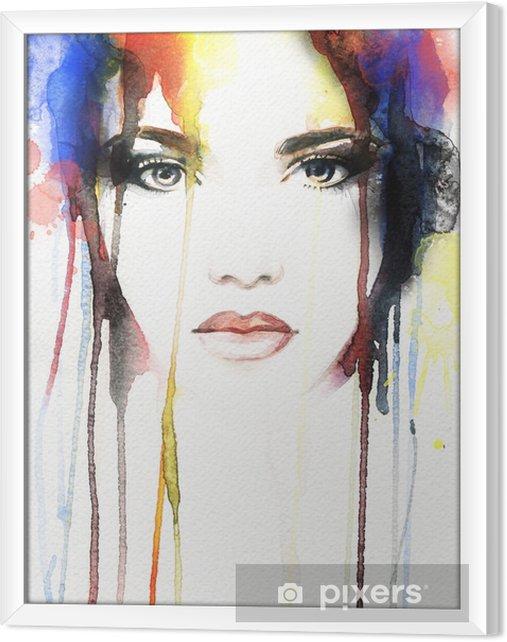 Obraz na płótnie w ramie Akwarela portret kobiety .abstract - Ludzie