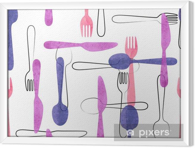 Obraz na płótnie w ramie Akwarela sztućce szwu w różowe i fioletowe kolory. Wektor tła z łyżki, widelce i noże. - Jedzenie