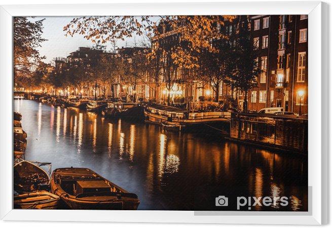 Obraz na płótnie w ramie Amsterdam nocą, Holandia - Tematy