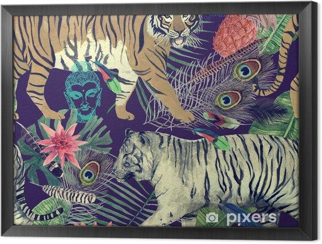 Obraz na płótnie w ramie Bezszwowe akwarela wzór z tygrysami, liści, piór. - Zasoby graficzne