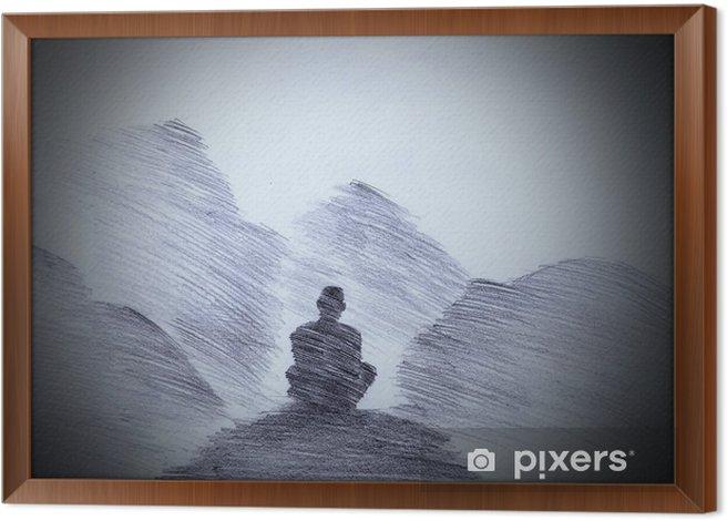 Obraz na płótnie w ramie Buddyjski mnich w górach - Religia i kultura