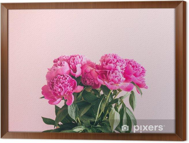 Obraz na płótnie w ramie Bukiet pięknych piwonii na różowym tle. - Rośliny i kwiaty