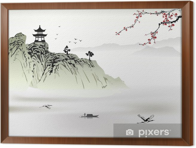 Obraz na płótnie w ramie Chiński krajobraz, malarstwo - Góry