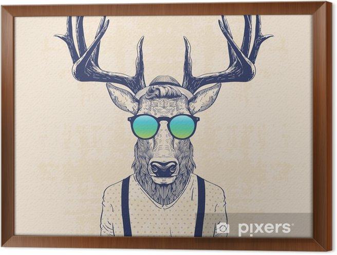 Obraz na płótnie w ramie Chłodny jelenia - Zwierzęta